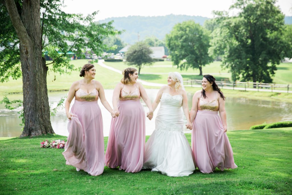 Bride and bridal party outside at Connoquenessing Country Club Enon Valley PA