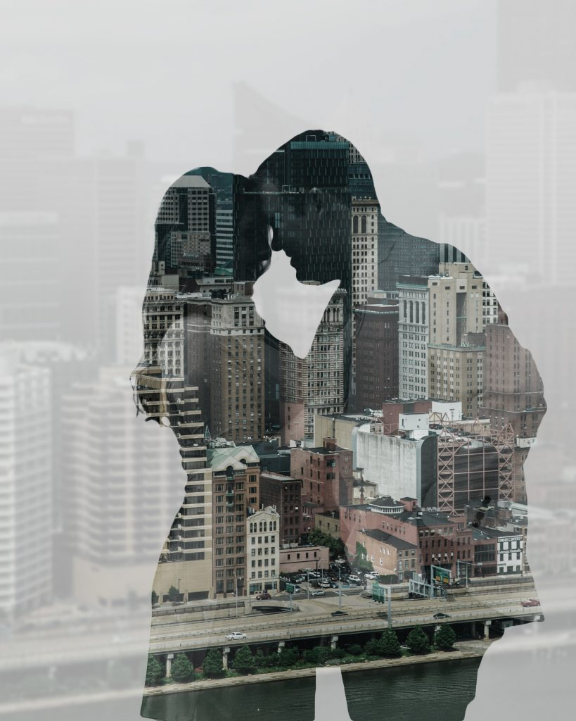 Double exposure engagement photo session